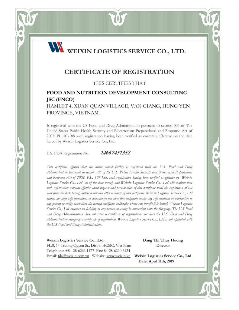 Giấy đăng ký với FDA