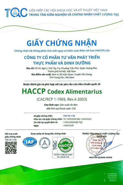 Giấy chứng nhận HACCP